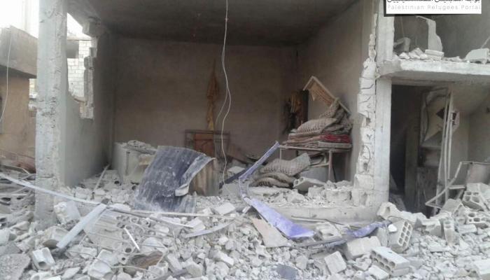 جانب من الأضرار خلال القصف على مخيم درعا عصر يوم الخميس