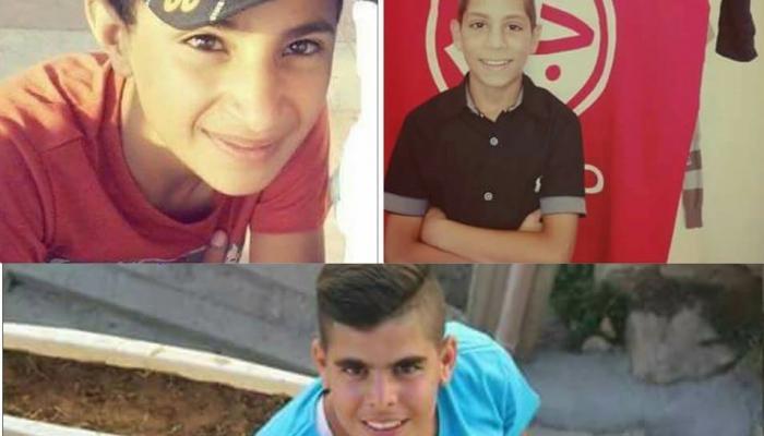 الاطفال الثلاثة الذين اعتقلتهم قوات الاحتلال في مخيم الدهيشة