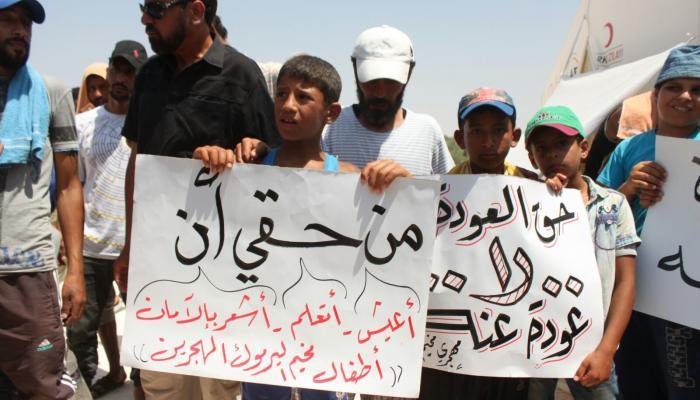 من اعتصام سابق لمهجري الخيام في الشمال السوري.