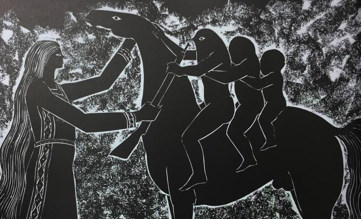 مصطفى الحلاج 1956, حفر على المازونيت، 39.50x54سم
